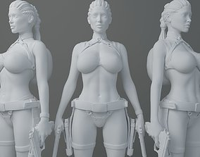 3D printable model HD Double gun female warrior