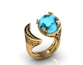 3D print model turquoise ring moon earth