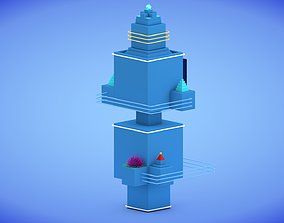 3D asset Low-poly Sci-fi Tower