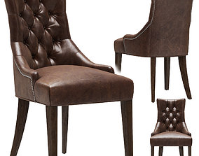 3D Restoration Hardware Martine Tufted Leather Armchair