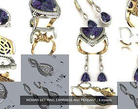 WOMAN SET RING EARRINGS AND PENDANT 3D model