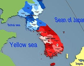 Korean Peninsula-globe 3D