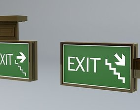 3D model low-poly Building Emergency Exit Signs