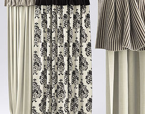Curtains black and white 3D