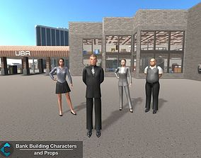 3D model Bank Building Characters and Props