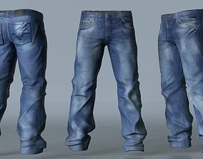 3D Jeans Trousers modeled sculpted and textured