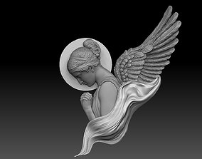 classical angel tattoo style Bas Relief 3D print cnc