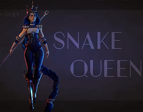 3D asset Snake Queen Stylized character