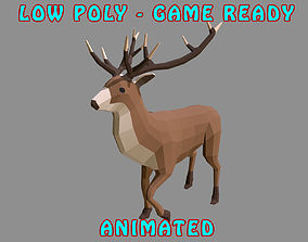 3D asset Low poly Stag Animated - Game Ready