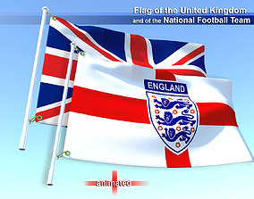 3D model Flags of the United Kingdom and the National 1
