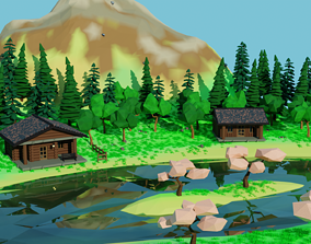 3D asset Low Poly Terrain Map With Natural Models And 3