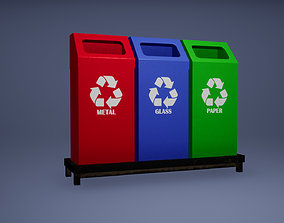 Recyclebin Low Poly Game Ready 3D asset