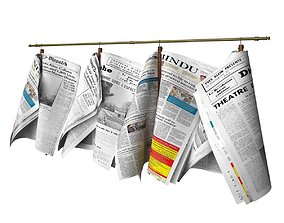 Newspapers hanging on the rail 3D model