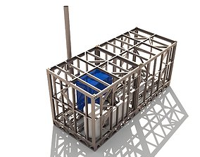 Boiler room in a container 3D