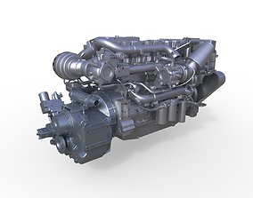 3D Complated Boat Marine Engine C18 ZF 655