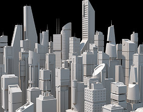 3D model Skyscrapers SciFi - Low Poly - Kitbash City