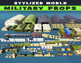 Military Base Props Stylized 3D asset