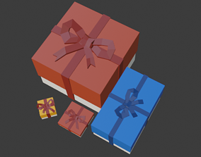 Low Poly Gift Boxes 3D model