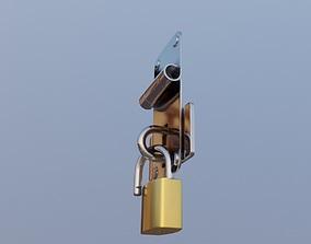 3D model padlock and door lock