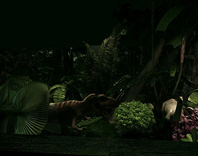 Jurassic Showroom Tropical Rainforest 3D rigged