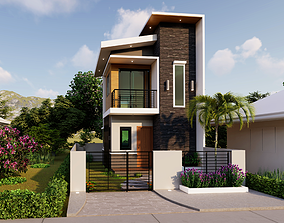 2 STOREY HOUSE PLAN 4X5M with Floor Plan - HD-06 3D
