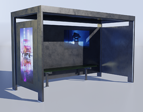 Bus Stop 3D asset game-ready