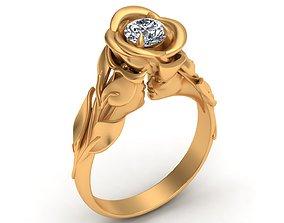 Faces Rose Flower Diamond Gold Ring 3D printable model