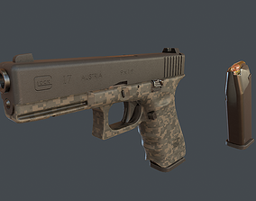 Camouflage Glock 17 with magazine 3D model