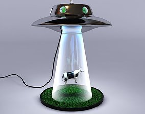 3D Lamp with cow and aliens abduction