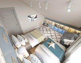 Mansard kids rooms 3D