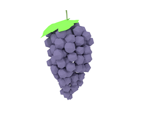 3D asset Low Poly Cartoon Grape