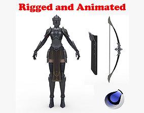 3D model Dark Falcon Female Archer Rigged and Animated