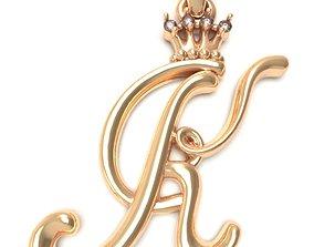 Alphabet Initial pendant letter K 3D printable model