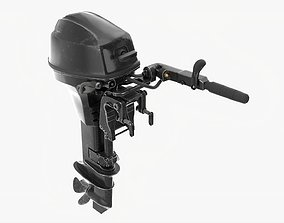 Outboard portable boat motor with tiller used 3D model