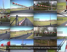 Railroad Barrier 8m with Protective Grid High and 3D model