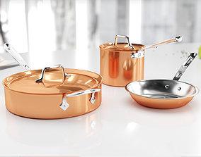3D model Copper kitchen set