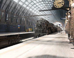 Realistic Railway Station King Cross style with 3D model