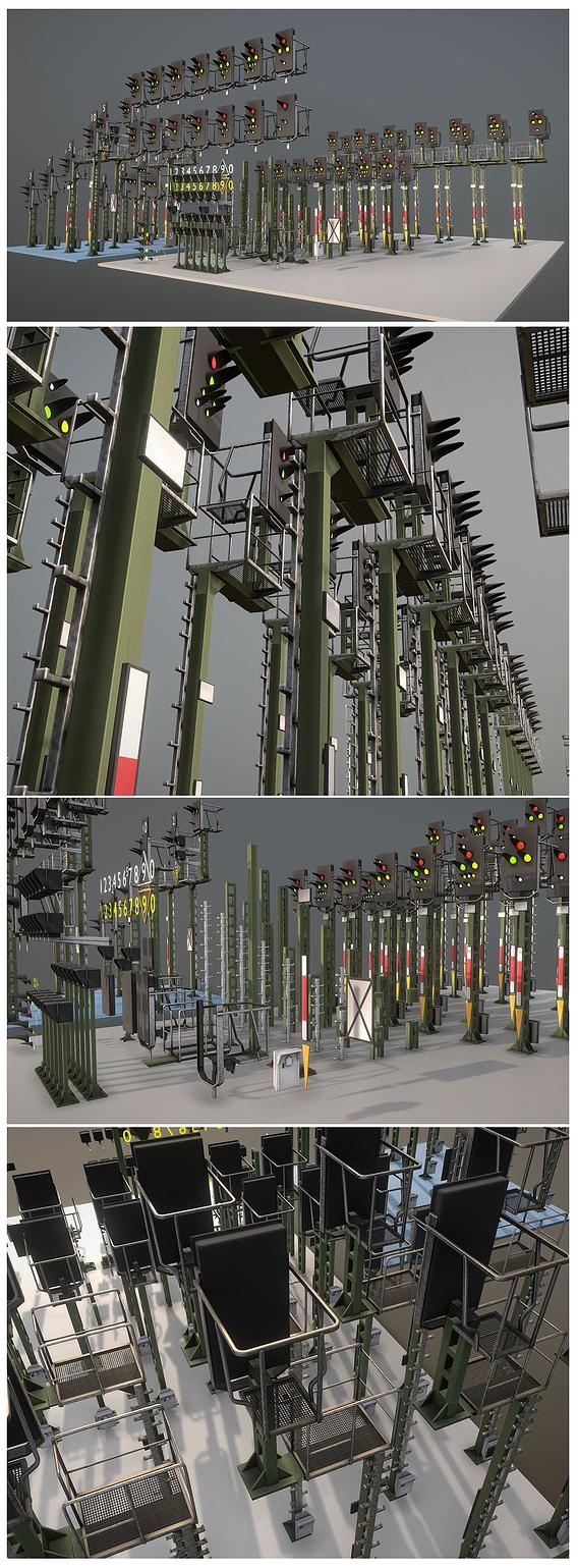 Railway Signals KS-Type Construction-Kit (Low-Poly)