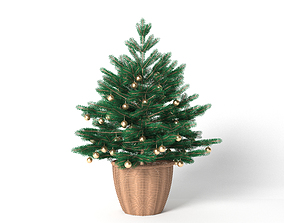 Christmas tree with toys in a basket 3D model