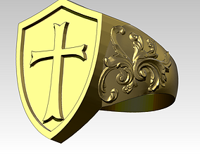 Knight Templar Ring Masonic College 3D printable model 1