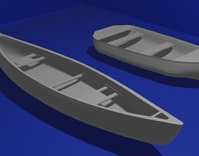 Canoe Boat 3D Model ocean