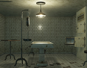 Low Poly Vintage Modular Morgue With PBR 3D asset