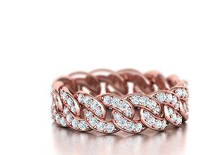 3D print model DIAMOND Cuban Link Chain Ring Stackble 5
