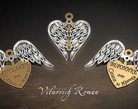 pendant angel wings 3D print model
