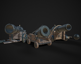 Stylized Pirate Cannons Pack 3D asset