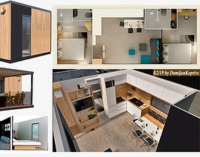 modern mobile home vacation house tiny VR / AR ready 2