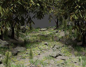3D Forest Path Scene