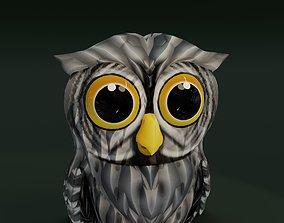 Cartoon Grey Owl Animated 3D Model animated