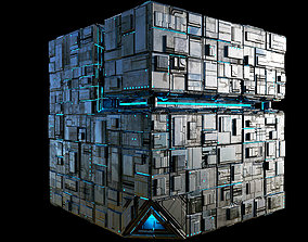 3D asset Borg Cube Space Station Ship Box Lowpoly