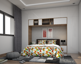 architectural bedroom 3D rigged